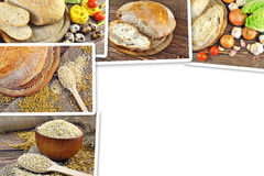 Collage of photos of bread. And grains Royalty Free Stock Image