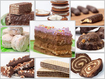 Collage with photos of cakes Royalty Free Stock Photography