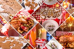 Collage of photos with Christmas decoration. Collage of photos with beautiful Christmas decoration Stock Image
