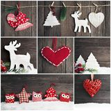 Collage of photos with christmas vintage toys royalty free stock photo