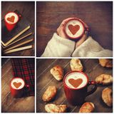 Collage of photos with. Cup and shape heart Stock Images