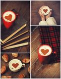 Collage of photos with. Cup and shape heart Royalty Free Stock Photos