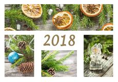 A collage of photos of decorated Christmas trees, decorations, gifts and winter spices. New year background royalty free stock image