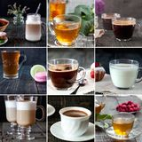 Collage of hot drinks. Recipes of various tasty and fragrant drinks stock photography
