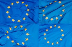 A collage of photos of the European flag in the wind.  Stock Photo