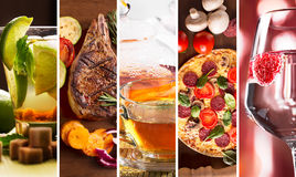 Collage from photos of food. Collage from different photos of food and drinks royalty free stock photos