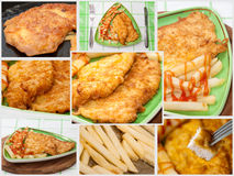 Collage with photos of fried chicken Royalty Free Stock Photography