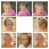 A collage of photos  of the girl with Down syndrome on the beach Royalty Free Stock Image
