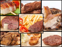 A collage of photos with grilled meat Royalty Free Stock Image