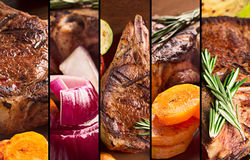 Collage from photos of grilled meat Stock Images