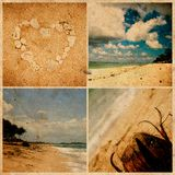 Collage of photos on grunge paper. Bali beach, Royalty Free Stock Image