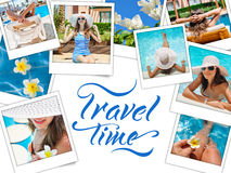 Collage with photos Happy fashion woman rest on the beach and words travel time Stock Photos