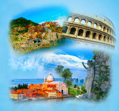 Collage from photos of Italy on blue background Royalty Free Stock Photos