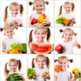 Collage of photos little girl shows fruits and Stock Photo