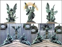 A collage of photos on Lviv theatre of opera Royalty Free Stock Photo