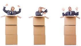 The collage of photos with man and boxes Royalty Free Stock Photo