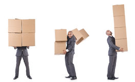 The collage of photos with man and boxes Stock Image