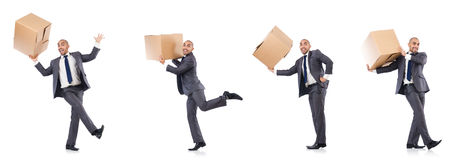The collage of photos with man and boxes Stock Photography
