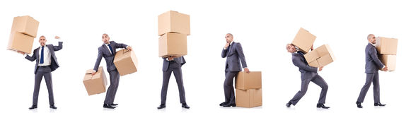 The collage of photos with man and boxes Stock Photos