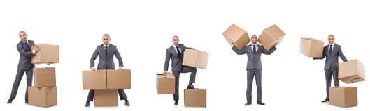 The collage of photos with man and boxes Royalty Free Stock Photos