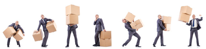 The collage of photos with man and boxes Royalty Free Stock Images