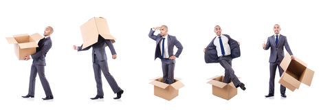 The collage of photos with man and boxes Royalty Free Stock Image