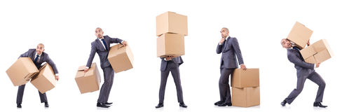 The collage of photos with man and boxes Stock Images