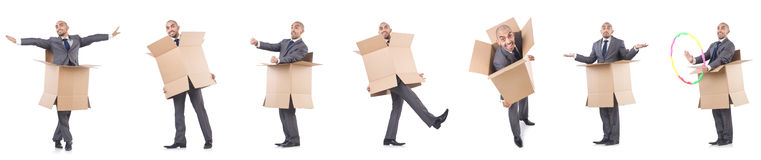The collage of photos with man and boxes Royalty Free Stock Photography