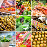 Collage of photos from the market stock photos
