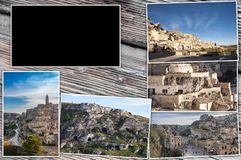 Collage photos of Matera, Italy. Wood background, with 16: 9 rectangle to insert videos, images and text, and empty central space. stock photography