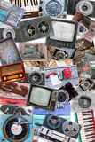 A collage of photos of old objects Stock Photos