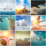 Collage  photos of planes Royalty Free Stock Photography