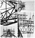 Collage of photos with power lines Royalty Free Stock Image