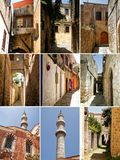 Collage of photos from Rhodes, old town stock photos