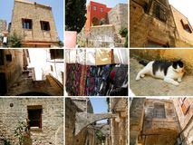 Collage of photos from Rhodes, old town Royalty Free Stock Image