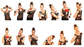 Collage of photos with seductive young woman  on white Royalty Free Stock Photography