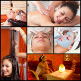 Collage of photos showing complete beautifying process on young. Collage of photos showing complete beautifying process on beautiful young woman in beauty spa Royalty Free Stock Photography