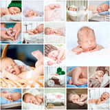 Collage  photos of sleeping babies Royalty Free Stock Image
