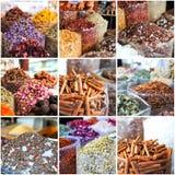 Collage of photos taken on the spices market Stock Photo