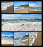 Collage of photos of waves on the beach Stock Photos