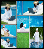 Collage of photos of women in the pool Stock Photos