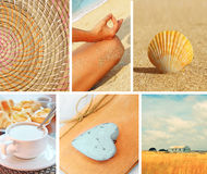 Collage of photos in yellow color Stock Photography