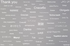 Collage of the phrase thank you written in different languages Stock Image