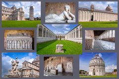 Collage of Piazza dei Miracoli in Pisa Stock Photos