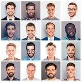 Collage picture of different multiethnic cheerful adult man expr. Collage picture of different multiethnic cheerful adult men expressing happiness and showing royalty free stock image