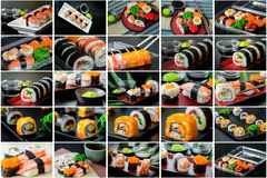 Collage picture of sushi set. In Japanese dish with shoyu Sauce and wasabi royalty free stock image