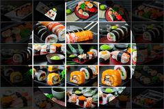 Collage picture of sushi set. In Japanese dish with shoyu Sauce and wasabi royalty free stock photo