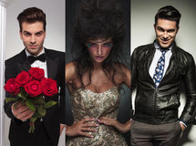 Collage picture of three fashion models posing in studio. Men in tuxedo offering flowers. beauty women posing. casual businessman standing with hands in royalty free stock photography