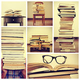 Collage of pictures of books. Collage of some pictures of piles of different books, on a table, on a chair or in an old suitcase royalty free stock photo