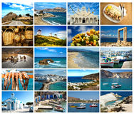 Collage pictures of Cyclades island in Greece Stock Photo